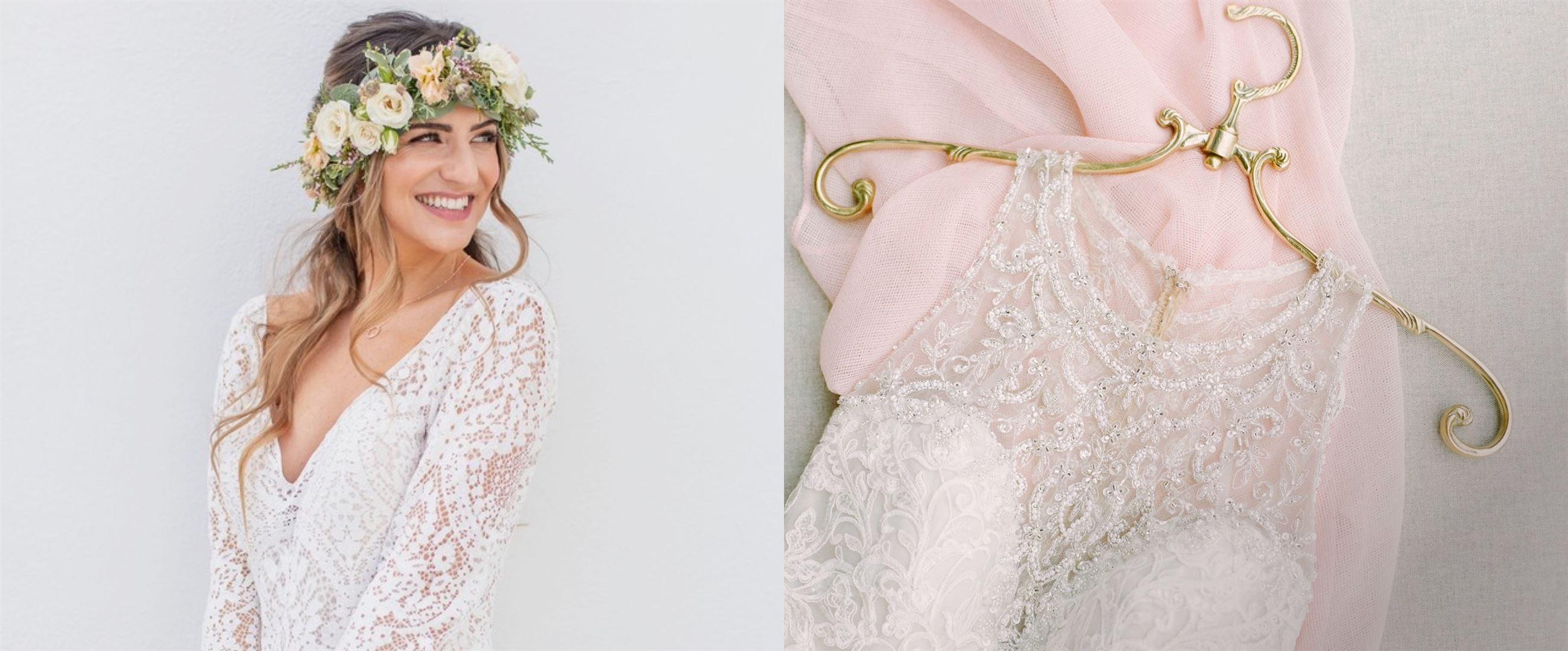 First image of a model wearing a boho wedding dress with a flower crown and second image shows a closeup of a beaded wedding dress