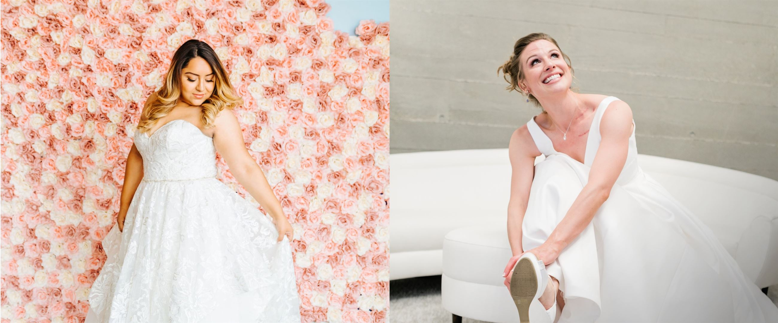 Two images side by side of two models wearing a white wedding dress
